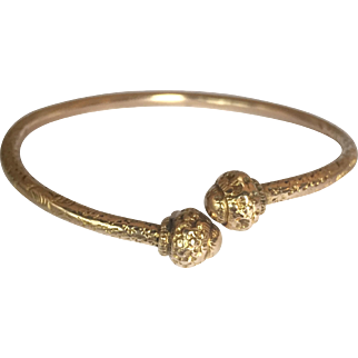 Antique Victorian 9K Gold by-pass bangle: 28.5 grams