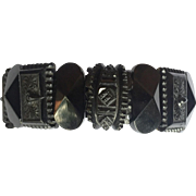 Antique Victorian Mourning buckle motif bracelet: Whitby Jet