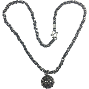 Antique Victorian Sterling Silver Etruscan Revival necklace