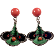 Vintage Art Deco Natural Coral, Enamel and Sterling Silver drop earrings
