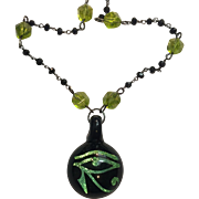 Blown Glass Eye of Horus, Natural Peridot, Black Spinel and Sterling necklace