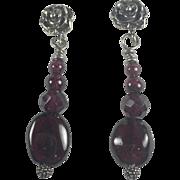 Natural Garnet sterling silver earrings