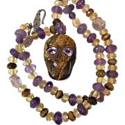 Natural Tigers Eye Skull and Amethyst Leather cord necklace
