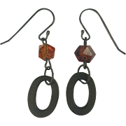 Vulcanite and Natural carved Amber earrings
