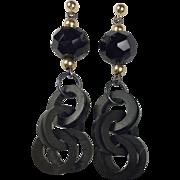 Whitby Jet, vulcanite Chain, 14K gold and sterling earrings