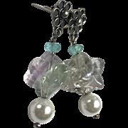 Sterling Silver Natural Flourite Merkaba, Aquamarine and Cultured Pearl Earrings
