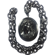 Vulcanite Mourning Pendant and Celluloid chain