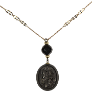 Whitby Jet / Mourning / Dionysus pendant: RARE Museum Quality / gold chain