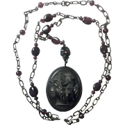 Vulcanite Mourning Locket/Horn Skull/ Sterling Silver/Garnet necklace/ Memento Mori