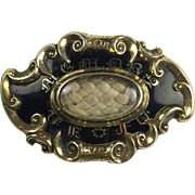 Antique Victorian Mourning  Brooch: Woven Hair In Memory Of: Memento Mori / Engraved