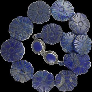 Antique Large Natural Hand Carved Lapis Lazuli Necklace