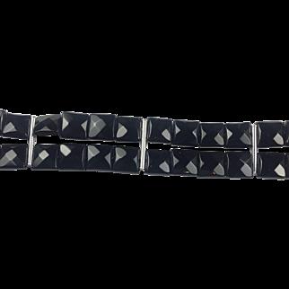 Natural Black Onyx and Sterling Silver bracelet