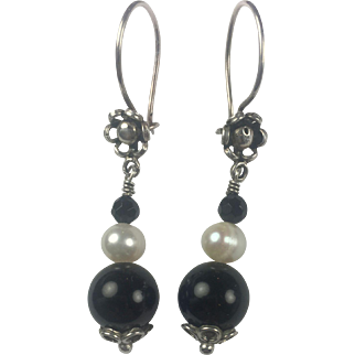 Sterling Silver, Cultured Pearl and Natural Black Onyx earrings