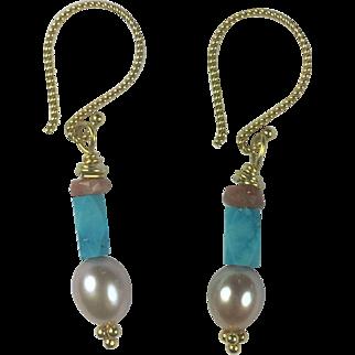 Natural Persian Turquoise, Sunstone, AAA Cultured Pearl, 18K Vermeil earrings