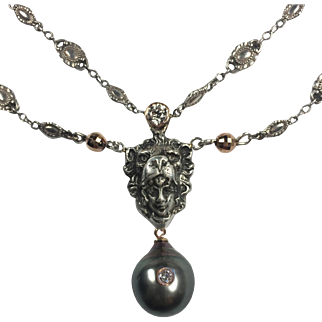 Old Mine Diamond, Lion Pendant, South Sea Cultured Pearl Necklace