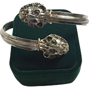 Sterling Silver, Diamond, Sapphire, Emerald Gold Lion bangle