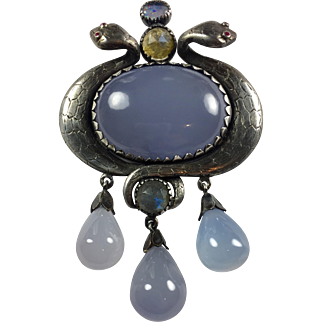 Vintage Egyptian Revival sterling Snakes Natural Chalcedony/ Pendant/ brooch/chain