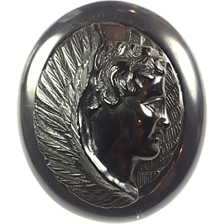 Victorian Mourning carved Whitby Jet ANGEL cameo brooch: RARE
