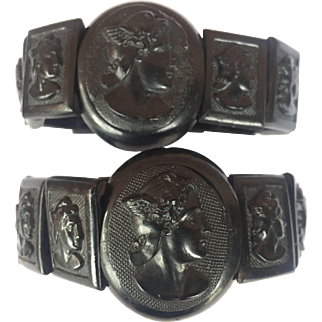 2 Antique Victorian Mourning Hermés bracelets / Pressed Horn: Pair/ RARE