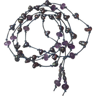 Amethyst, Cultured Peacock Baroque Pearl, Iolite, leather cord necklace: 47 inches