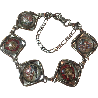 Art Deco Essex Crystal/ Reverse Painted Glass Intaglio Indian Chiefs and Braves bracelet