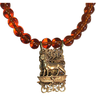 Antique Victorian solid Brass Egyptian Revival Sphinx necklace: Glass Amber beads