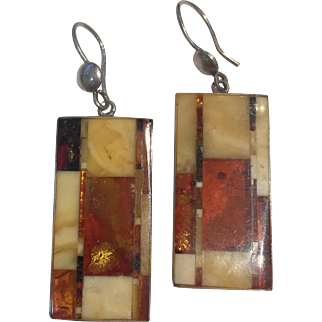 Art Deco 1920s German carved Amber Earrings: Constructivism Movement