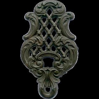 Cast Iron Trivet with Ornate Lattice and Scrolls Design
