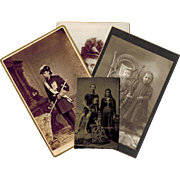 Four Photographs, Various Themes, Tintype, Cabinet Cards