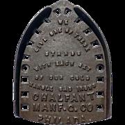 Cast Iron Chalfant Sadiron Stand Trivet with Company Advertising