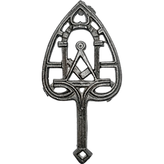 Early Cast Iron Trivet with Masonic Design and Cast Mark