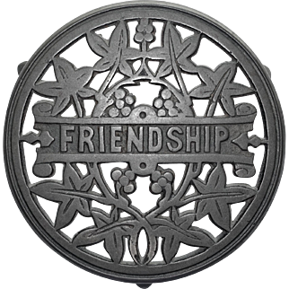 Early Cast Iron Friendship Trivet with Large Sprue Mark