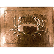 Newlyn Copper Repousse Crab Parlor Trivet with Wrought Iron Legs