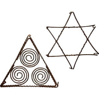 2 Unusual Tinned Wire Trivets with Geometric Shapes; Vintage Wireware
