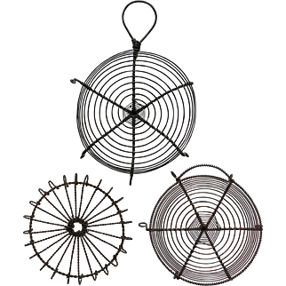 3 Lovely Wire Trivets with Webbed Circular Designs; Vintage Wireware