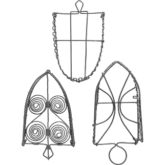 Three Wonderful Wire Trivets with Sadiron Shapes; Vintage Wireware