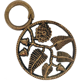 Bronze Trivet with Snake Handle, Acorns and Leaves