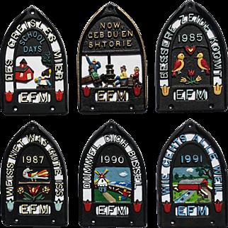 Six Collectible Vintage EFM Trivets (1982-1991)