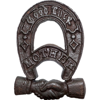 "Cast Iron ""Good Luck Mother"" Fraternal Horseshoe Plaque Trivet with Handshake"