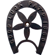 Cast Iron Horseshoe Trivet, Good Luck 1885, With Center Pinwheel