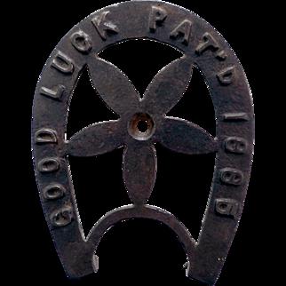 Cast Iron Horseshoe Trivet, Good Luck 1885, With Center Pinwheel