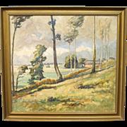 Oil painting on canvas of landscape signed Egon Lenskjold 1946.