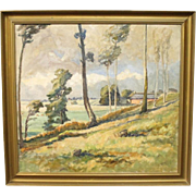 Oil painting on canvas of landscape signed Egon Lenskjold 1946.
