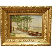 Oil painting on canvas in frame decorated with gold leaf, signed K. Geh.