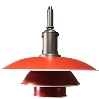 PH3½-3 pendant with red lacquered metal Shades with a White edge and mounting in copper.