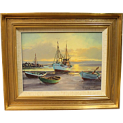Oil painting of the Beach at sun down by Theodor Skovgaard.