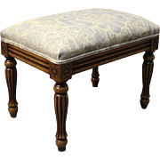 Small footstool in mahogany and light fabric from the 1950s