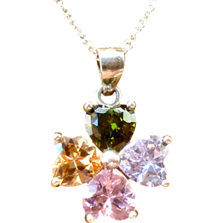 Necklace with 925 silver pendant, and Color Gems