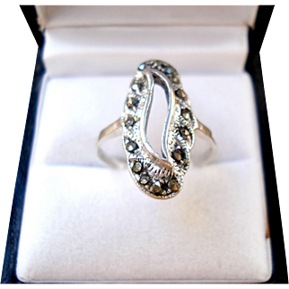Elegant Vintage Band Ring Silver 925 With Strass Lady Measures 18mm = Size 8