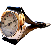 Antique Watch Swiss ARCADIA Art Deco Gold Plate 1920c Lady Working